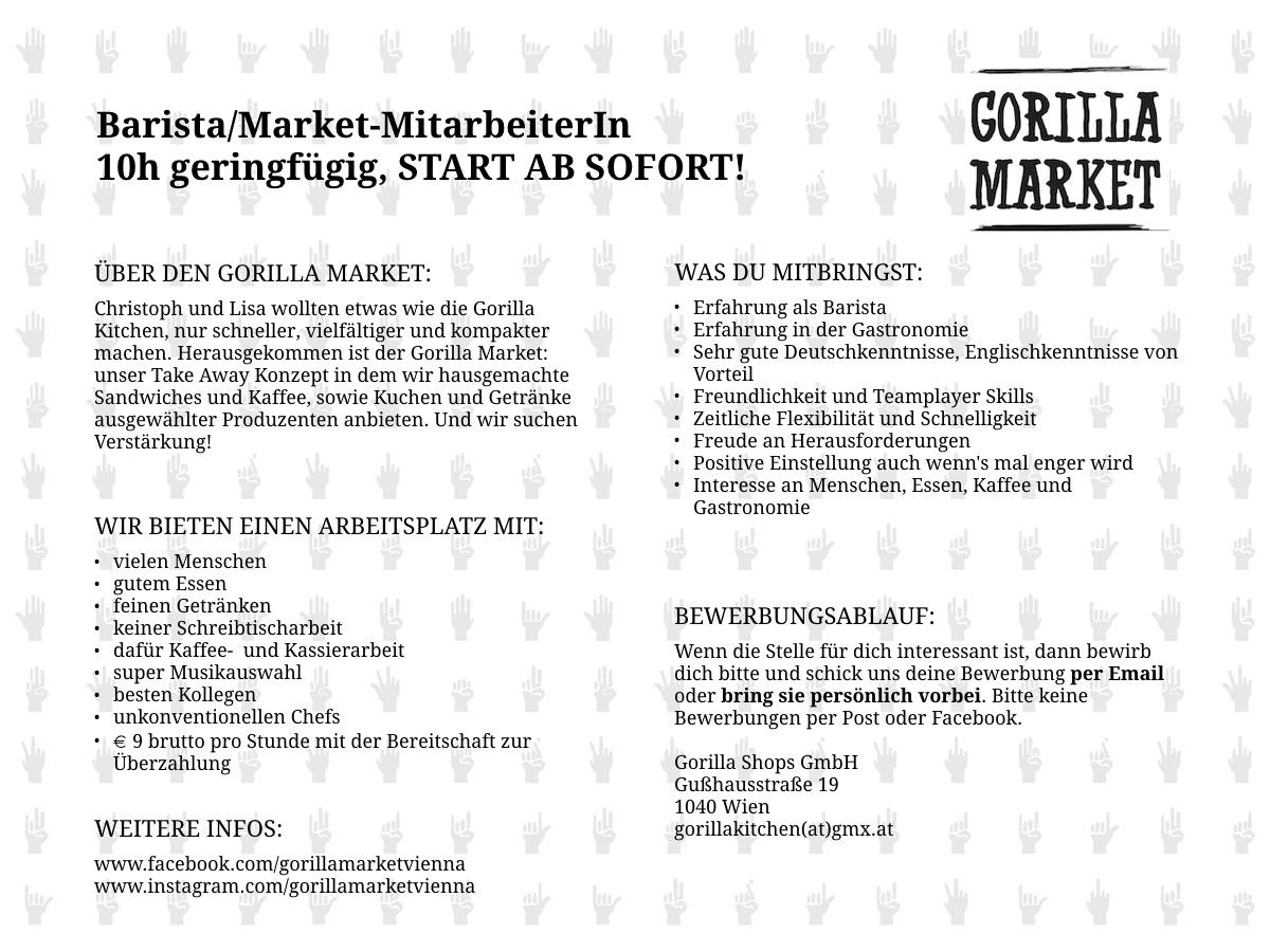 Stellenanzeige Gorilla Market Barista